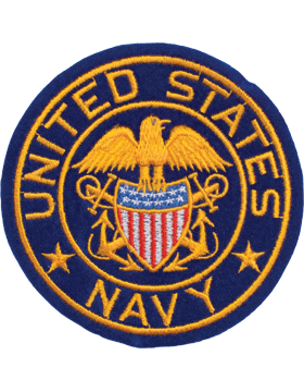 Military US Navy with Eagle and Shield Round Patch 4""