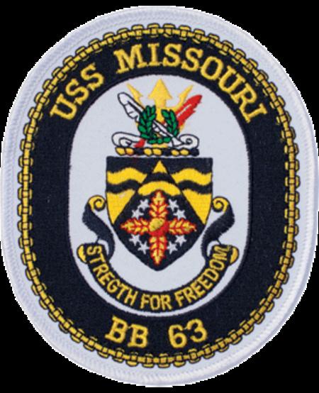 "USS Missouri BB 64 Oval Patch 4 3/4"""