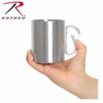 Rothco Insulated Stainless Steel Portable Camping Mug w/Carabiner Handle - 15 OZ