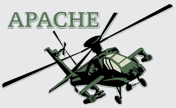 """Mitchell Proffitt Army Apache Helicopter 6"""" Window Decal"""