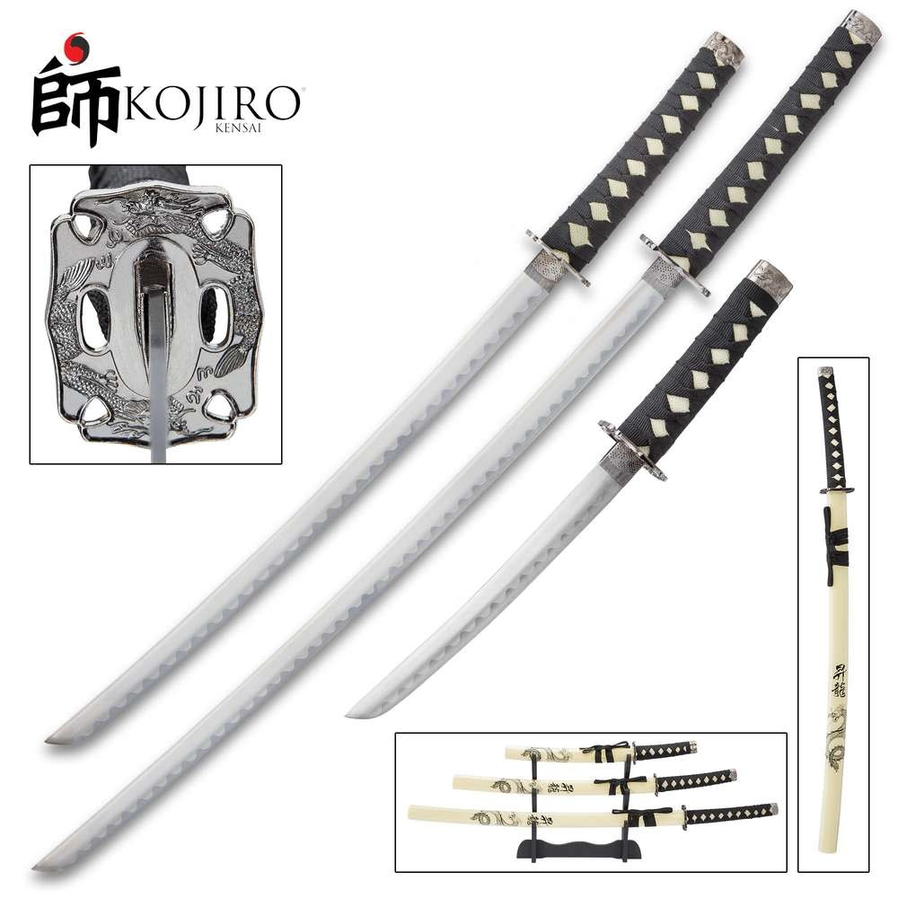 Kojiro Dragon Warrior Three Piece Sword Set - Carbon Steel
