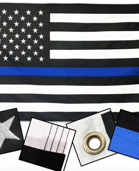 Thin Blue Line Embroidered Flags (Polyester)