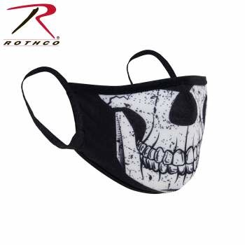 Rothco Half Skull Reusable 3-Layer Polyester Face Mask