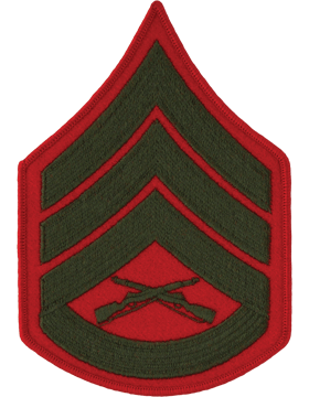 Military Green/Red Staff Sergeant USMC Patch