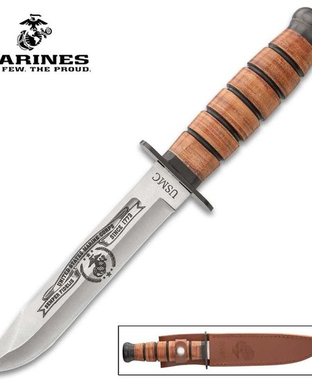 USMC Tribute Combat Knife and Sheath - Stainless Steel Blade