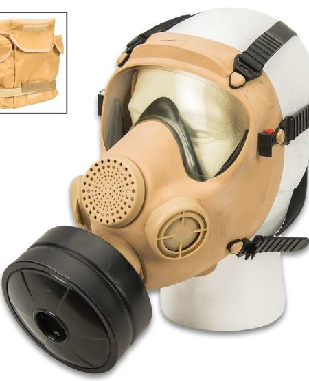 Polish MP5 Gas Mask w/Filter and Transport Bag - ISSUED - TAN