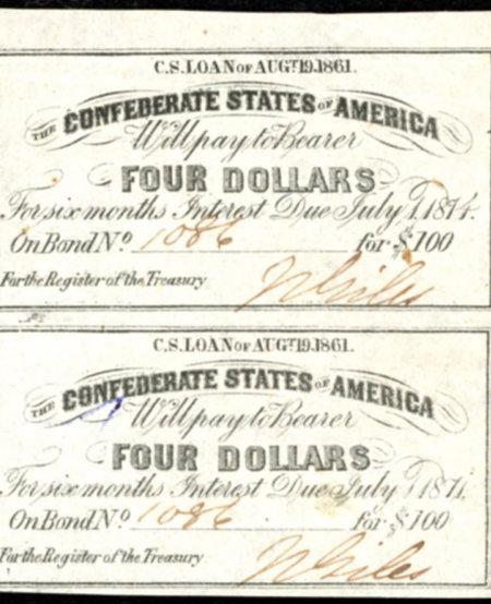 Uncut sheet of 2 1861 Confederate States of America Richmond CSA $4 Bond Coupons