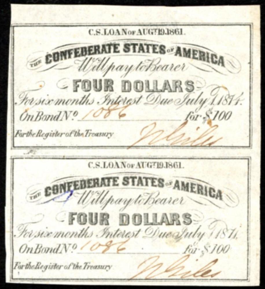 Civil War Uncut sheet of 2 1861 Confederate States of America Richmond CSA $4 Bond Coupons