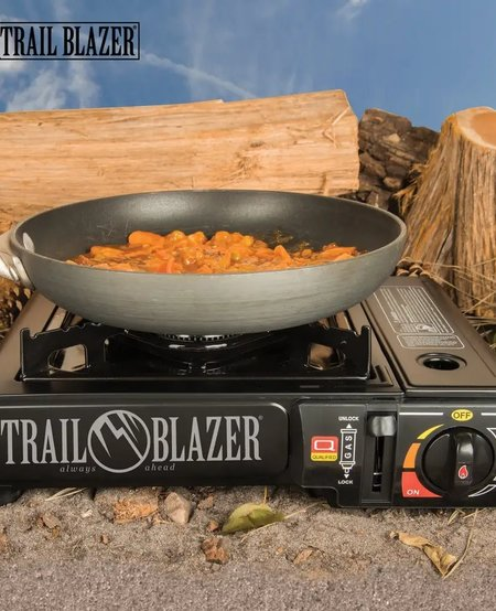 Portable Camping Stove w/Carry Case - Steel Construction, Piezo Ignition, Adjustable Burner