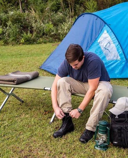 Heavy Duty Folding Steel Camping Cot w/Carry Bag