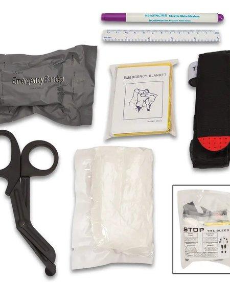 Advanced Trauma Bleeding Control Kit - First Aid Tools, Tourniquets, Emergency Blanket, Pressure Bandage