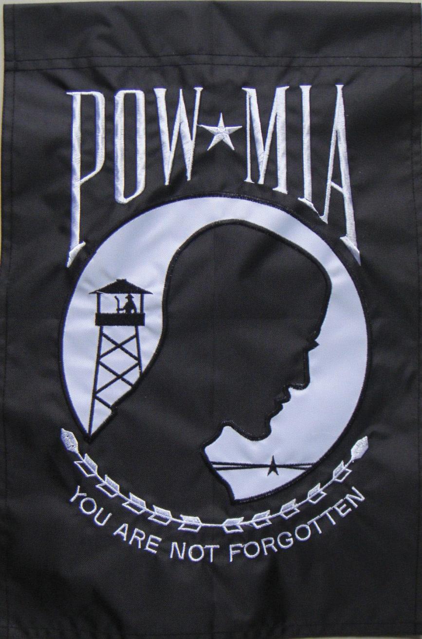 """POW Embroidered 12"""" x 18"""" Garden Flag"""