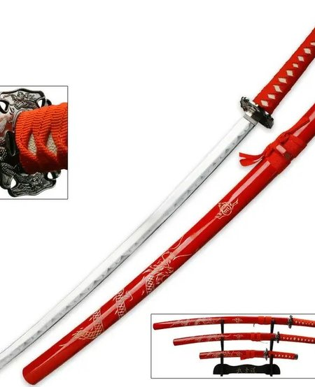 Red Dragon Three Piece Imperial Samurai Sword Collection with Stand
