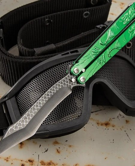 Green Dragon Butterfly Knife - Stainless Steel