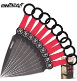On Target 9 Piece Black and Red Throwing Knife Set