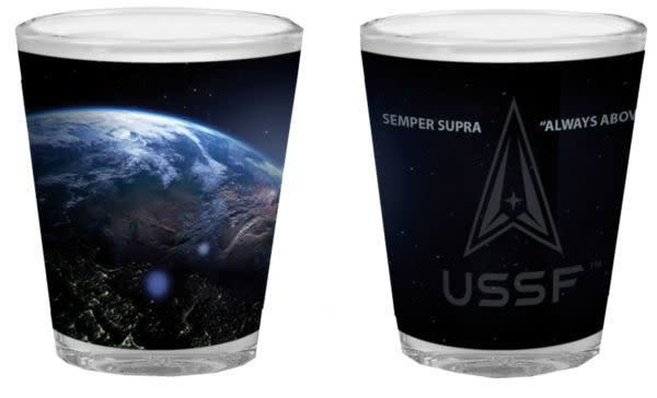 """Mitchell Proffitt United States Space Force """"Always Above"""" 2oz Shot Glass"""