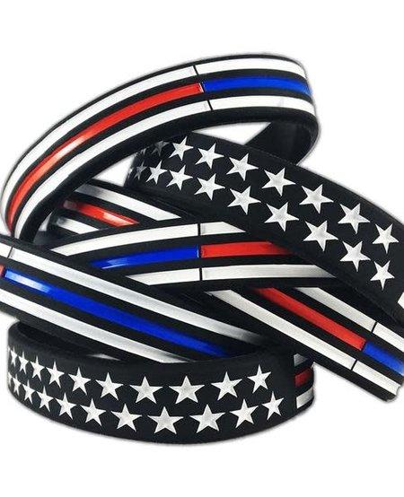 Thin Red/Blue Line American Flag Bracelet