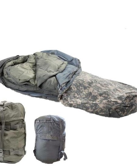 Military Issued 4 Piece Sleep System - Bivy Cover, Patrol Bag, Intermediate Bag, Compression Sack - ACU Digital