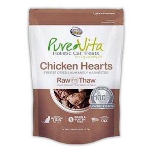 Pure Vita PureVita Chicken Hearts Freeze Dried Cat Treats, 0.8-oz Bag