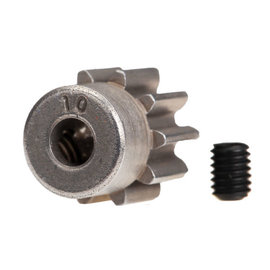 Traxxas Gear, 10-T pinion (32-p) (steel)/ set screw