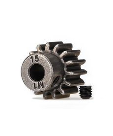 Traxxas Gear, 15-T pinion (1.0 metric pitch) (fits 5mm shaft)/ set screw (for use only with steel spur gears)