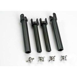 Traxxas 4951X Half shafts, long (heavy duty) (external-splined (2) & internal-splined (2))/ metal u-joints (4)