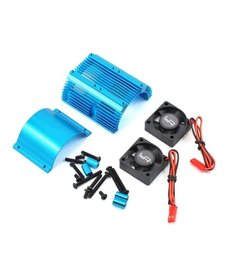 Yeah Racing Yeah Racing 1/8 Twin Fan Aluminum Heat Sink w/2 Fans (Blue) (40.8mm diameter)