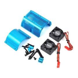 Yeah Racing Yeah Racing 1/8 Twin Fan Aluminum Heat Sink w/2 Fans (Blue) (40.8mm diameter)