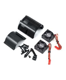 Yeah Racing Yeah Racing 1/8 Twin Fan Aluminum Heat Sink w/2 Fans (Black) (40.8mm diameter)