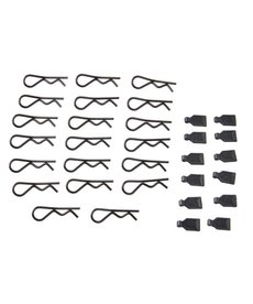 Duratrax 1/8 Body Clips (20)/Rubber Pull Tabs (12)