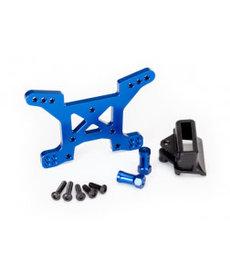 Traxxas 6739X Rustler 4x4 Torre de choque, delantera, 7075-T6 aluminio (anodizado azul) (1) / soporte de montaje en el cuerpo (1)