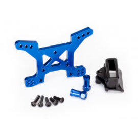 Traxxas 6739X Rustler 4x4 Shock tower, front, 7075-T6 aluminum (blue-anodized) (1)/ body mount bracket (1)