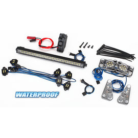 Traxxas TRX-4 LED light set, complete (contains rock light kit, LED light bar (Rigid), LED headlight/tail light kit, power supply, and 3-in-1 wire harness) (fits #8011 body)