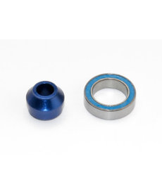 Traxxas 6893X Bearing adapter, 6160-T6 aluminum (blue-anodized) (1)/10x15x4mm ball bearing (blue rubber sealed) (1) (for slipper shaft)