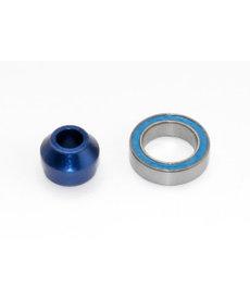 Traxxas Adaptador de rodamiento 6893X, aluminio 6160-T6 (anodizado azul) (1) / rodamiento de bolas 10x15x4mm (sellado con goma azul) (1) (para eje deslizante)