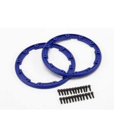 Traxxas Protector de pared lateral, estilo Beadlock (azul) (2) / 2.5x8mm CS (24) (para usar con ruedas Geode)
