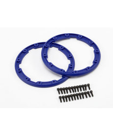 Traxxas Sidewall protector, beadlock style (blue) (2)/ 2.5x8mm CS (24) (for use with Geode wheels)