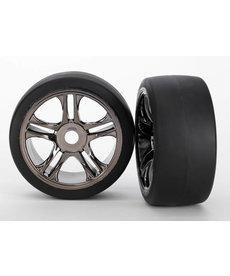 Traxxas 6477 Neumáticos y ruedas, ensamblados, pegados (radios dobles, ruedas de cromo negro, neumáticos lisos (compuesto S1), inserciones de espuma) (trasero) (2)