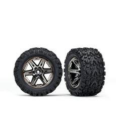 Traxxas Tires & wheels, assembled, glued (2.8') (RXT black chrome wheels, Talon Extreme tires, foam inserts) (electric rear) (2) (TSM rated)