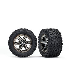 Traxxas 6773X Tires & wheels, assembled, glued (2.8') (RXT black chrome wheels, Talon Extreme tires, foam inserts) (2) (TSM rated)