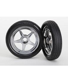 Traxxas Tires & wheels, assembled, glued (5-spoke chrome wheels, tires, foam inserts) (front) (2)