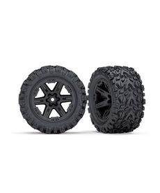 Traxxas Neumáticos y ruedas, ensamblados, pegados (2.8 ') (ruedas negras RXT, neumáticos Talon Extreme, insertos de espuma) (parte trasera eléctrica) (2) (clasificación TSM)