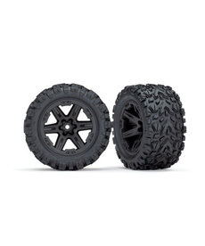 Traxxas Tires & wheels, assembled, glued (2.8') (RXT black wheels, Talon Extreme tires, foam inserts) (electric rear) (2) (TSM rated)