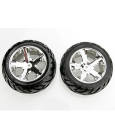 Traxxas 3773 Tires & wheels, assembled, glued (All Star chrome wheels, Anaconda tires, foam inserts) (electric rear) (1 left, 1 right)