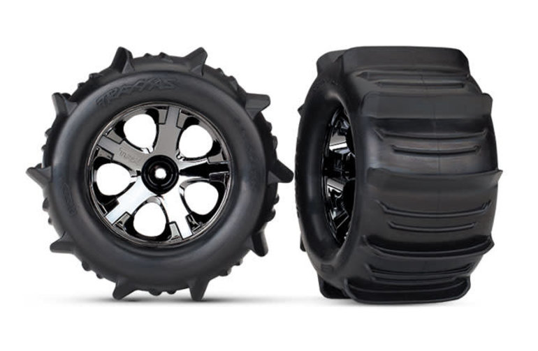 Traxxas Tires & wheels, assembled, glued (2.8') (All-Star black chrome wheels, paddle tires, foam inserts) (nitro rear/electric front) (2) (TSM rated)