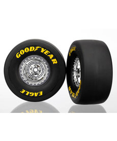 Traxxas Tires & wheels, assembled, glued (chrome wheels, slick tires (S1 compound), foam inserts) (rear) (2)