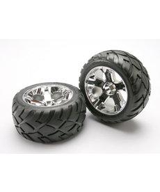 Traxxas Tires & wheels, assembled, glued (All-Star chrome wheels, Anaconda tires, foam inserts) (nitro front) (1 left, 1 right)