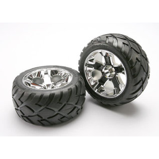 Traxxas Tires & wheels, assembled, glued (All-Star chrome wheels, Anaconda tires, foam inserts) (nitro front) (1 left, 1 right)