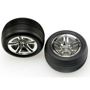 Traxxas Tires & wheels, assembled, glued (2.8') (Twin-Spoke wheels, Alias ribbed tires, foam inserts) (nitro front) (2)