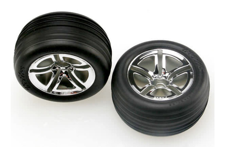 Traxxas Tires & wheels, assembled, glued (2.8') (Twin-Spoke wheels, Alias ribbed tires, foam inserts) (nitro front) (2)